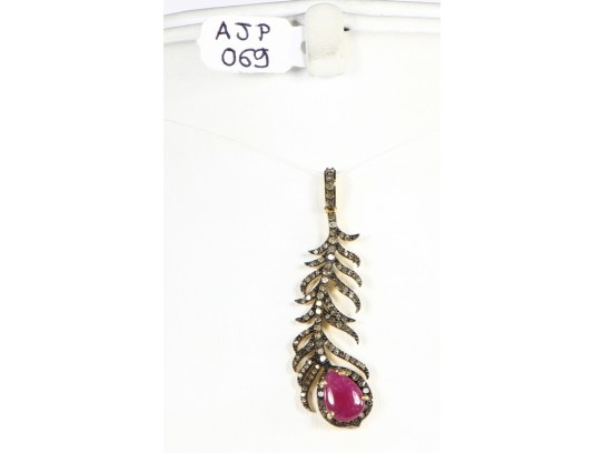 Antique Style  Leaf Design Pendant 14kt Gold .925 Sterling Silver with Oxidized Pave Diamonds and Ruby with Diamond Bail