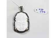Antique Style Buddha Design  Pendant .925 Sterling Silver with Oxidized Pave Diamonds and Carved White Onyx Gemstone with Diamond Bail