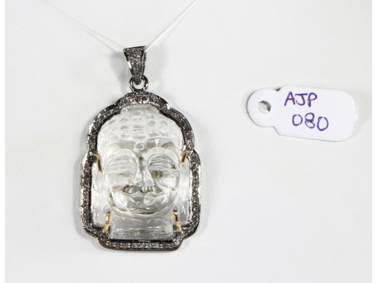Antique Style Buddha Design  Pendant .925 Sterling Silver with Oxidized Pave Diamonds and Carved Crystal Gemstone with Diamond Bail