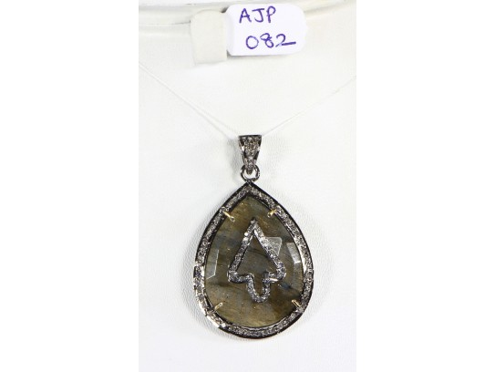 Antique Style Drop Design  Pendant .925 Sterling Silver with Oxidized Pave Diamonds and Labrodrite Gemstone with Diamond Bail