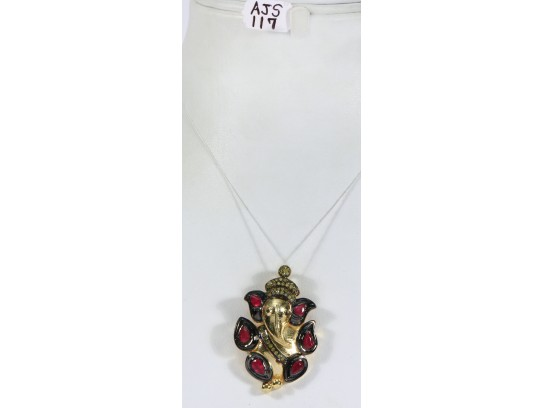 Antique Style Pendant .925 Sterling Silver Gold Micron Plated Ganesh Design with Diamonds and Ruby