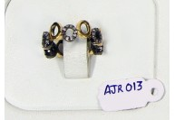 Victorian Style Eternity 2-Tone Gold Plated Oxidized Band Ring  .925 Sterling Silver with Pave Diamonds