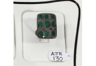 Antique Style Resizable Rectangle Shape Ring .925 Sterling Silver with Pave Diamonds and Emerald