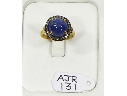 Antique Style Resizable Ring .925 Sterling Silver Gold Plated with Oxidized Pave Diamonds and Tanzanite