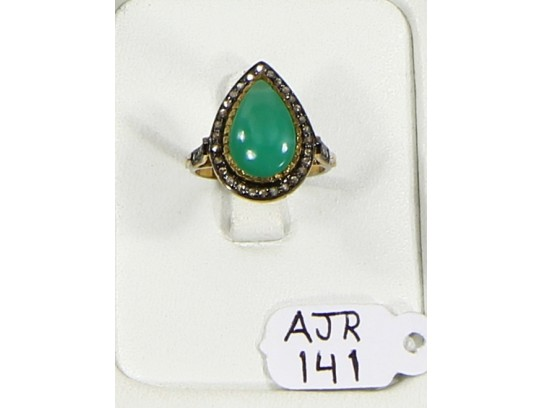Antique Style Resizable Drop shape Ring .925 Sterling Silver with Oxidized Pave Diamonds and Chrysoprase