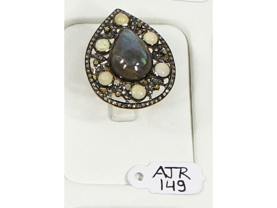 Antique Style Resizable Drop shape Ring .925 Sterling Silver with Oxidized Pave Diamonds and  Opal and Labrodrite