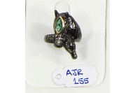 Antique Style Horse Design  Resizable Ring  .925 Sterling Silver with Oxidized Pave Diamonds with Green Stone Eye