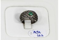 Antique Style Resizable Band Ring .925 Sterling Silver with Oxidized Pave Diamonds and Emerald
