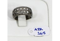 Antique Style Resizable Band Ring .925 Sterling Silver with Oxidized Pave Diamonds