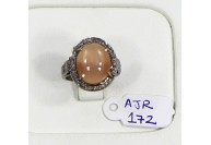 Antique Style Resizable Ring .925 Sterling Silver with Oxidized Pave Diamonds and  Orange Moonstone