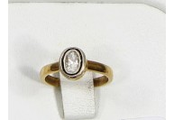Antique Style Resizable Ring .925 Sterling Silver Gold Plated with Oxidized Rosecut Diamond
