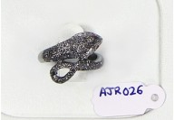 Antique Style Snake Design  Resizable Ring  .925 Sterling Silver with Oxidized Pave Diamonds with Ruby Eye