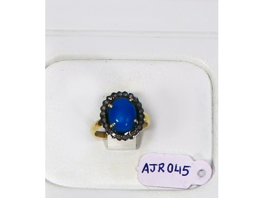 Antique Style Resizable Ring .925 Sterling Silver Gold Plated with Oxidized Pave Diamonds and Turquoise