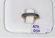 Victorian Style Band Ring 14kt Gold  .925 Sterling Silver with Half Band of 4 Rows of High Lustre Pave Diamonds