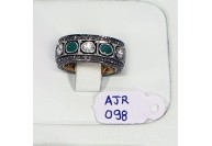 Victorian Antique Style Eternity Band Ring  .925 Sterling Silver withPave and Rosecut Diamonds and Emerald
