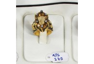 Antique Style Ring .925 Sterling Silver Gold Micron Plated with Citrine